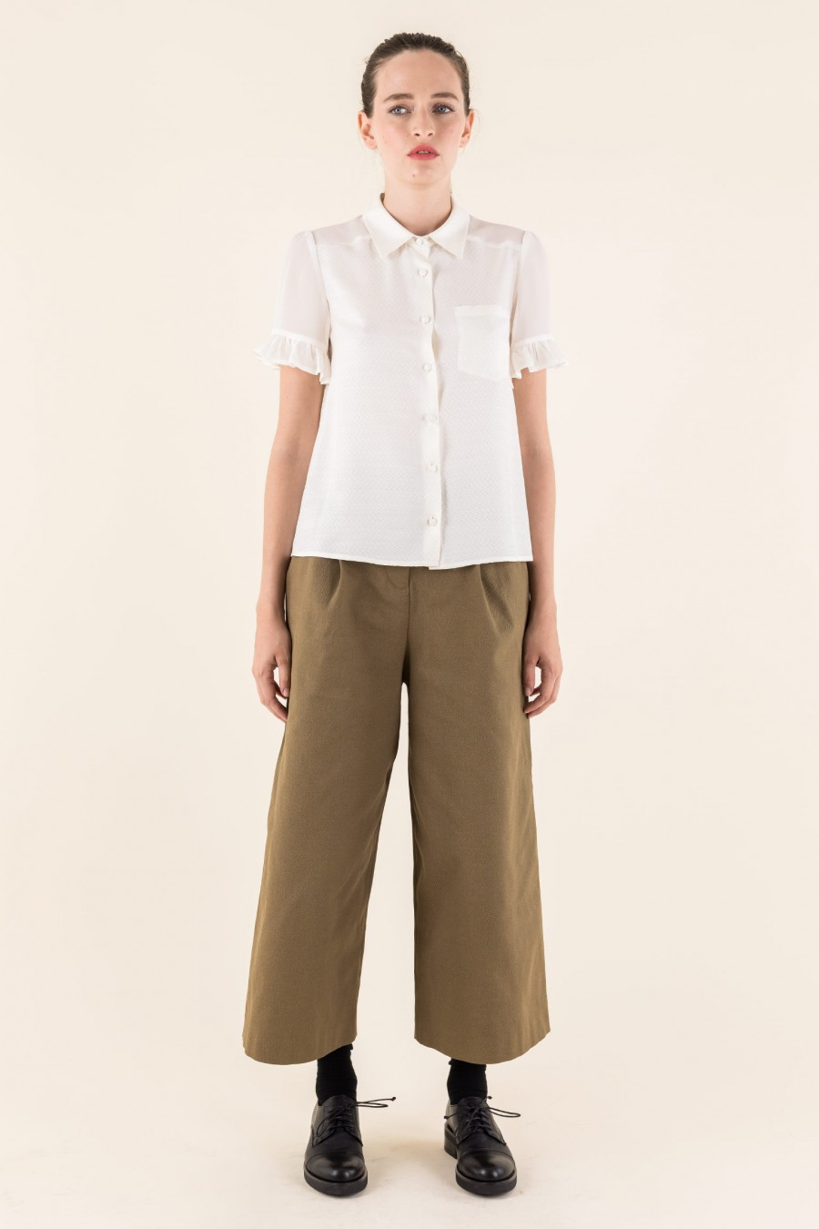 White silk shirt with short sleeves