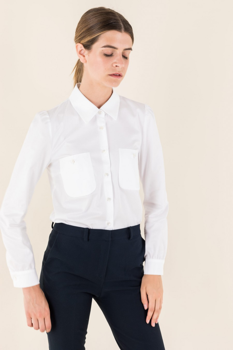White shirt with little pockets