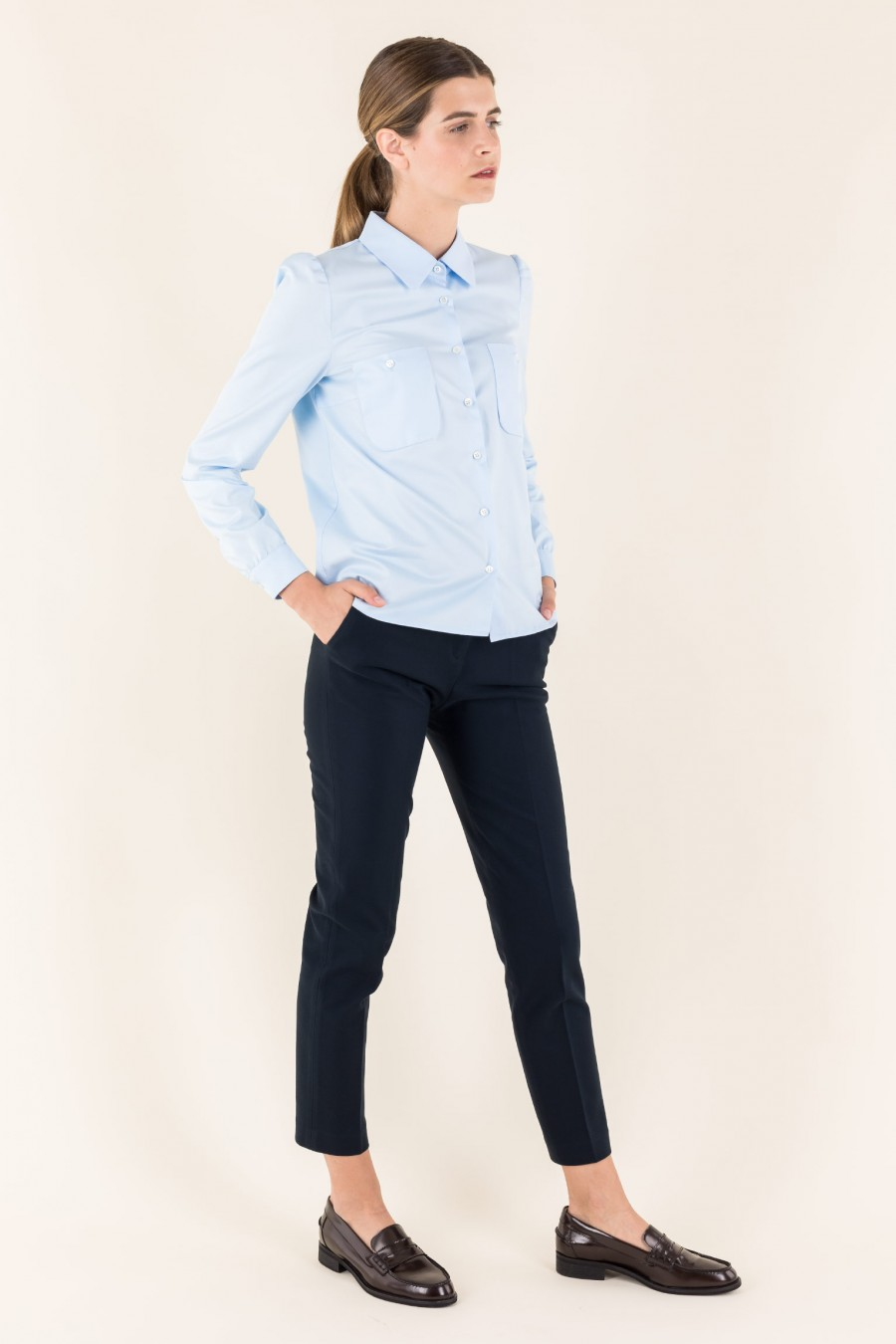 Blue shirt with pockets