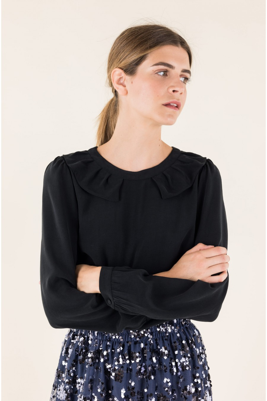 Black blouse with Pierrot collar