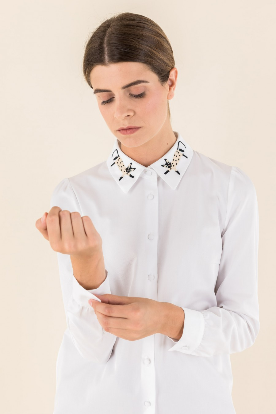 White shirt with cat collar