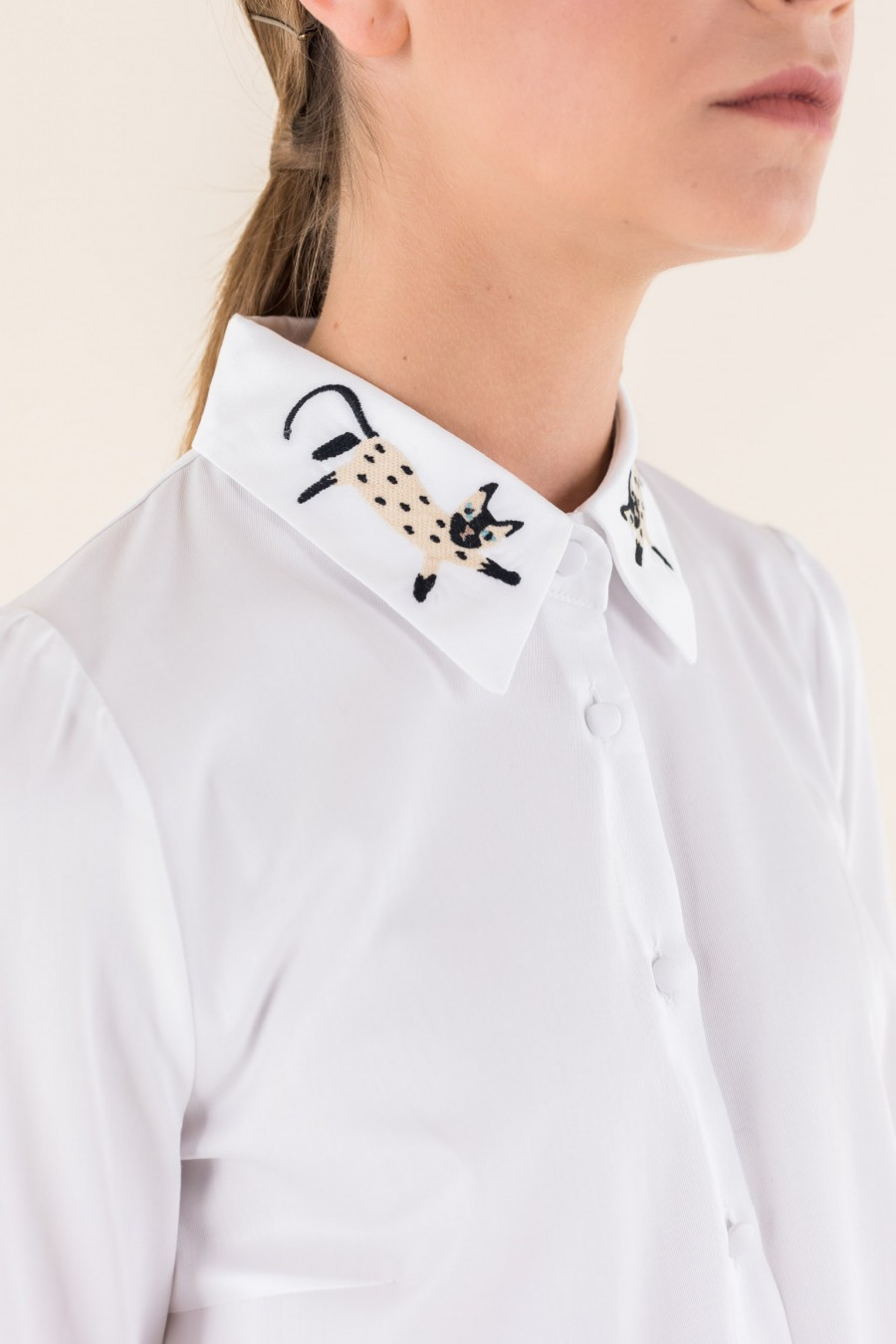 White cat shirt