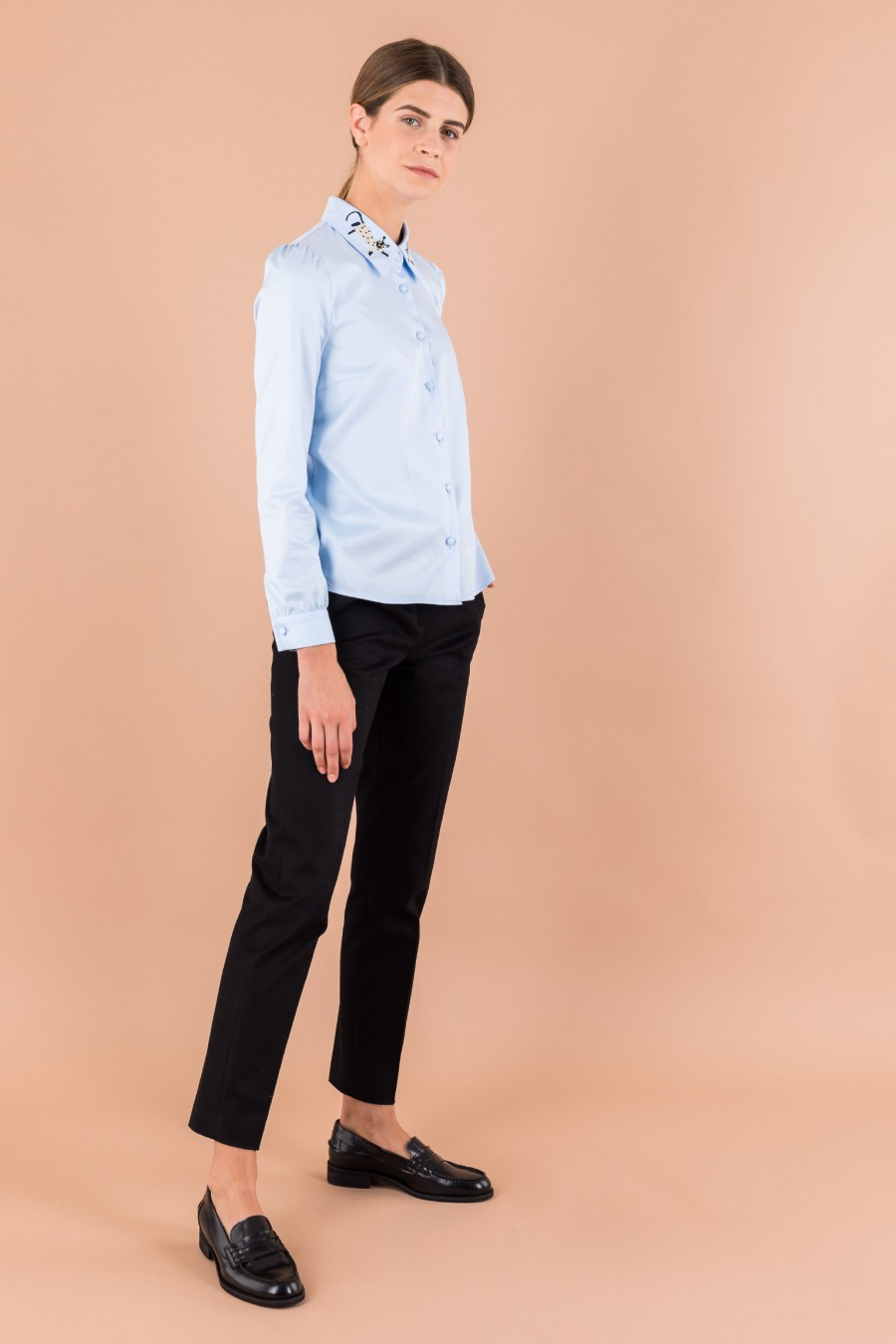 Light blue shirt with cat collar