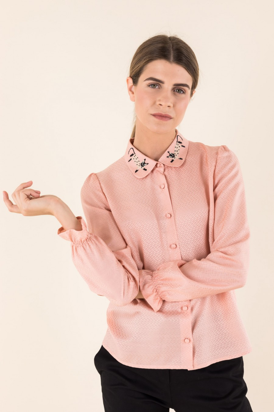 Pink shirt with cat collar