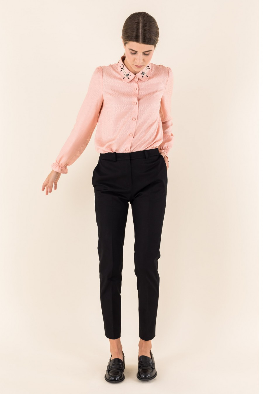 Silk shirt cat collar pink