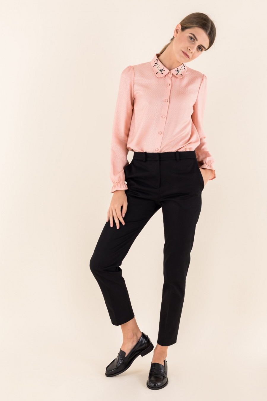 Pink silk shirt with cat collar