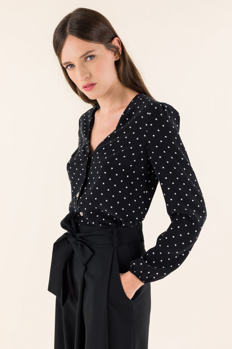 V-neck blouse with polka dots