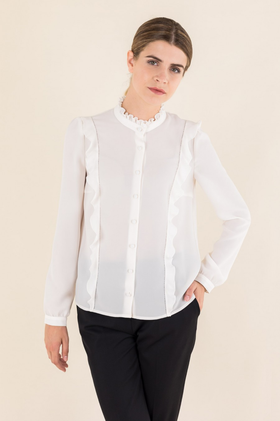 Blouse with hemstitch