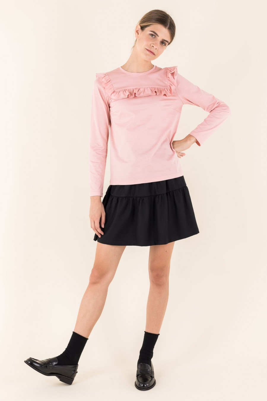Pink top with ruffles