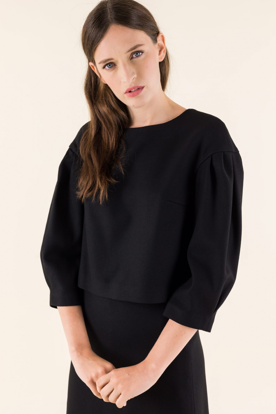 Black blouse with balloon sleeves