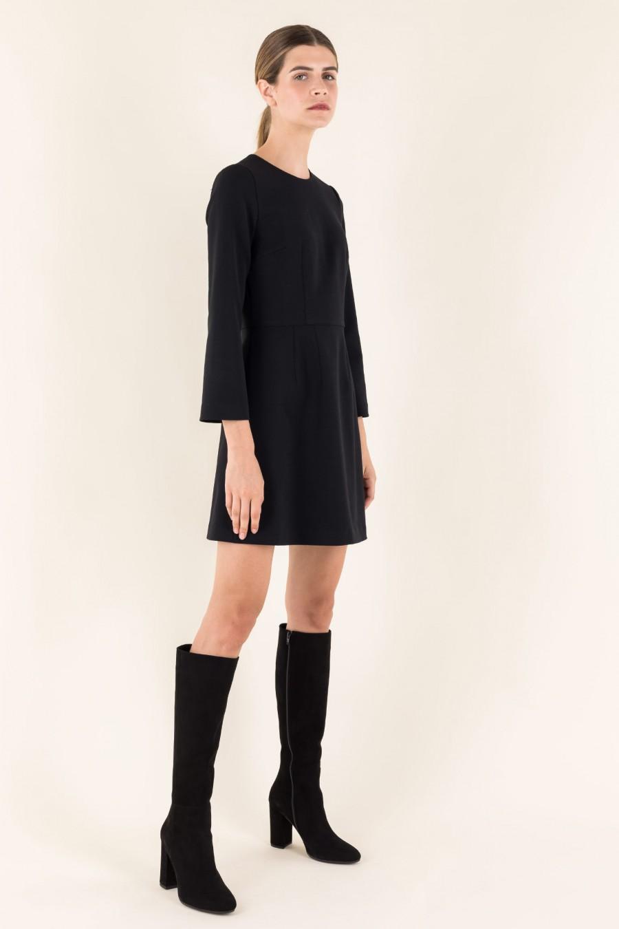 Dress with 3/4 sleeves in wool crêpe
