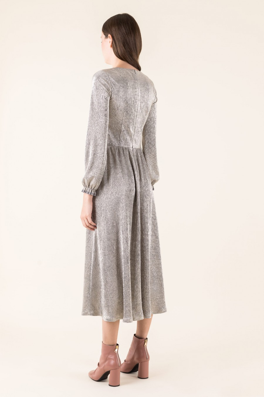 Silver dress with long sleeves