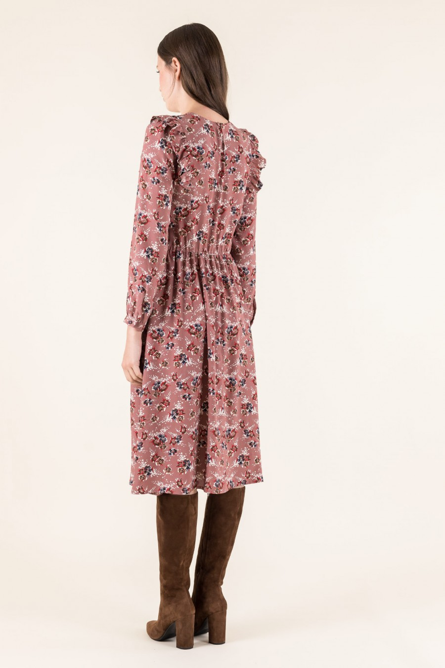Autumn dress with flowers print
