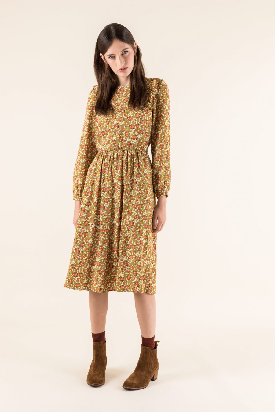 Floreal dress with long sleeves