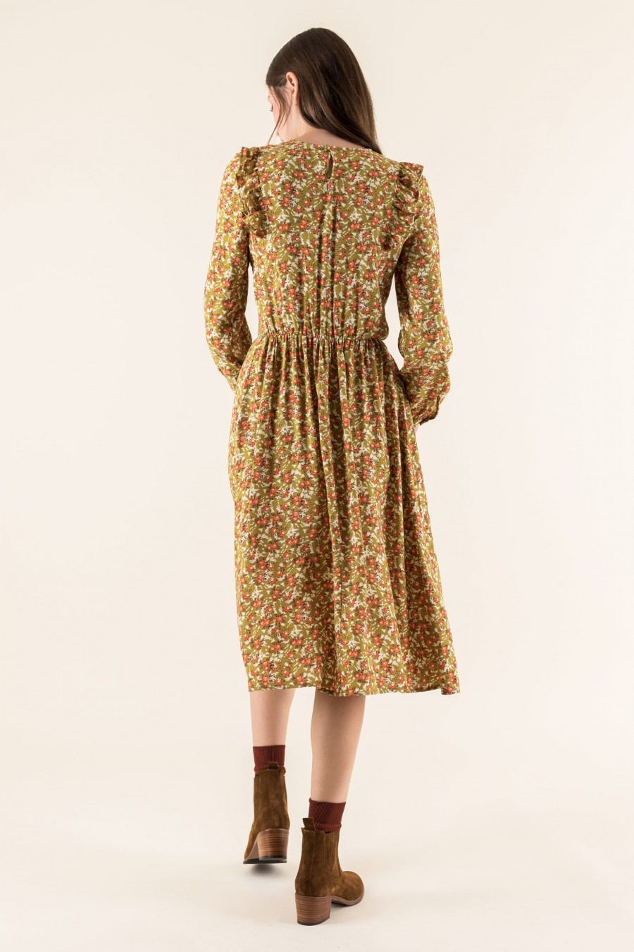 Mustard dress with flowers print