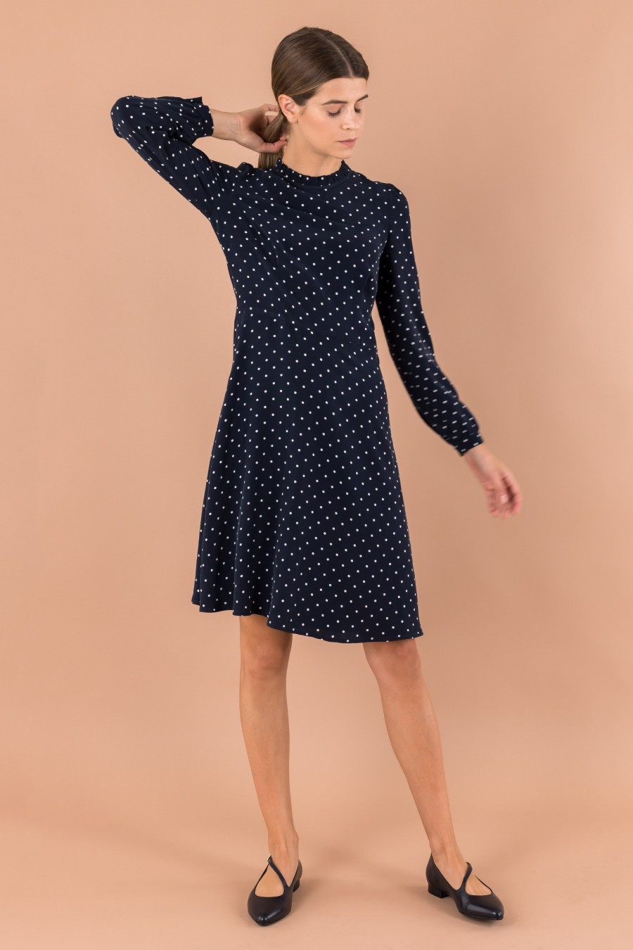 Blue dress with white polka dots