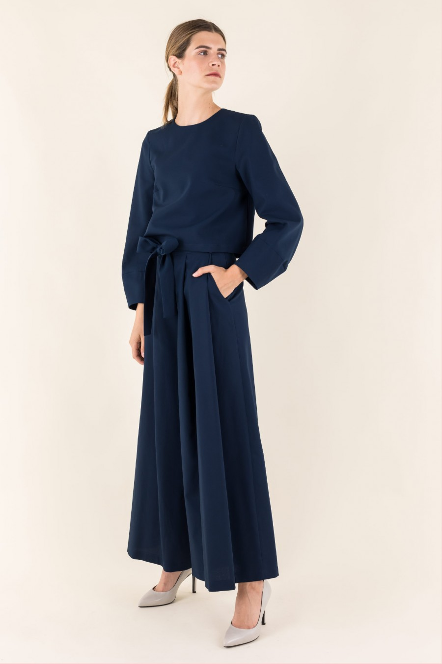 Wedding wide trousers with belt