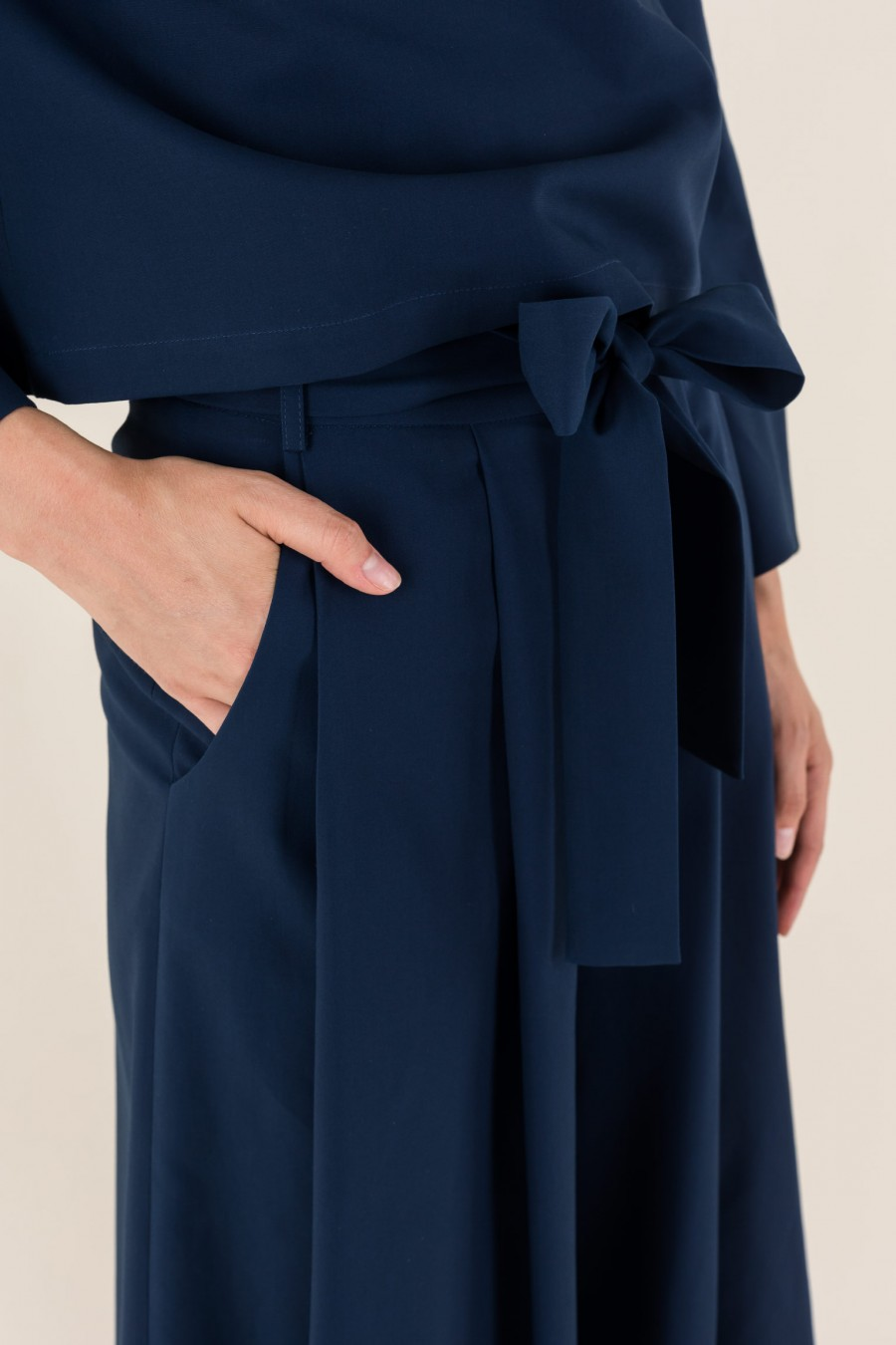 blue culottes with bow