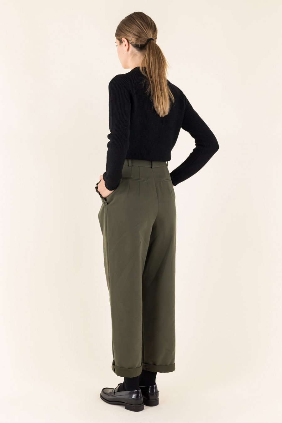 Cotton military green pants