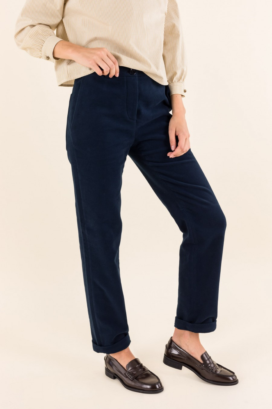 Trousers made of fustian fabric