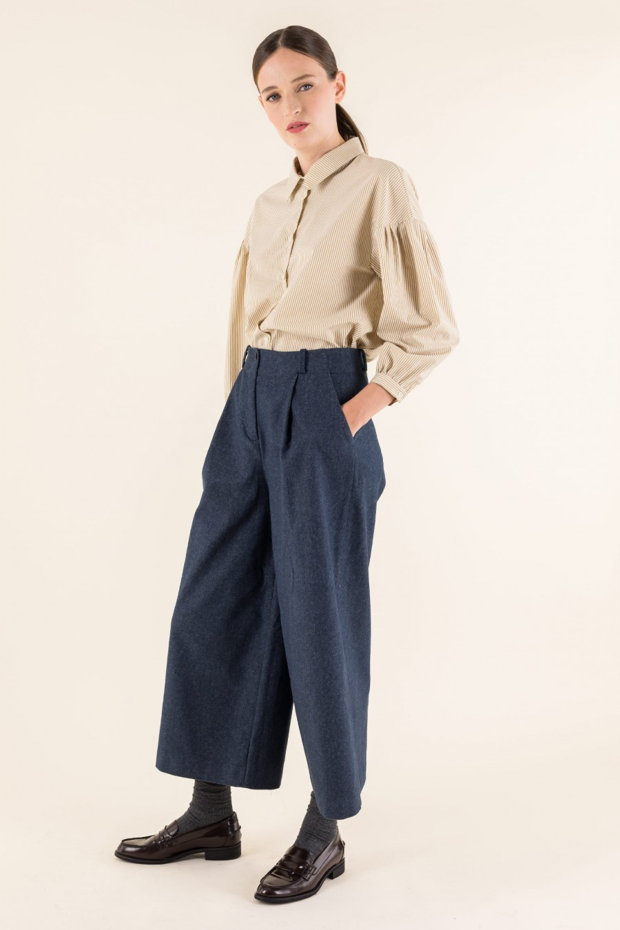 Denim effect Culottes with pleat