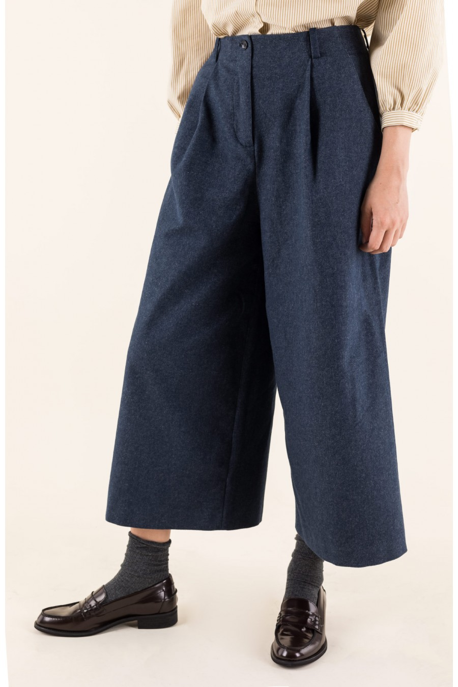 denim effect wide trousers