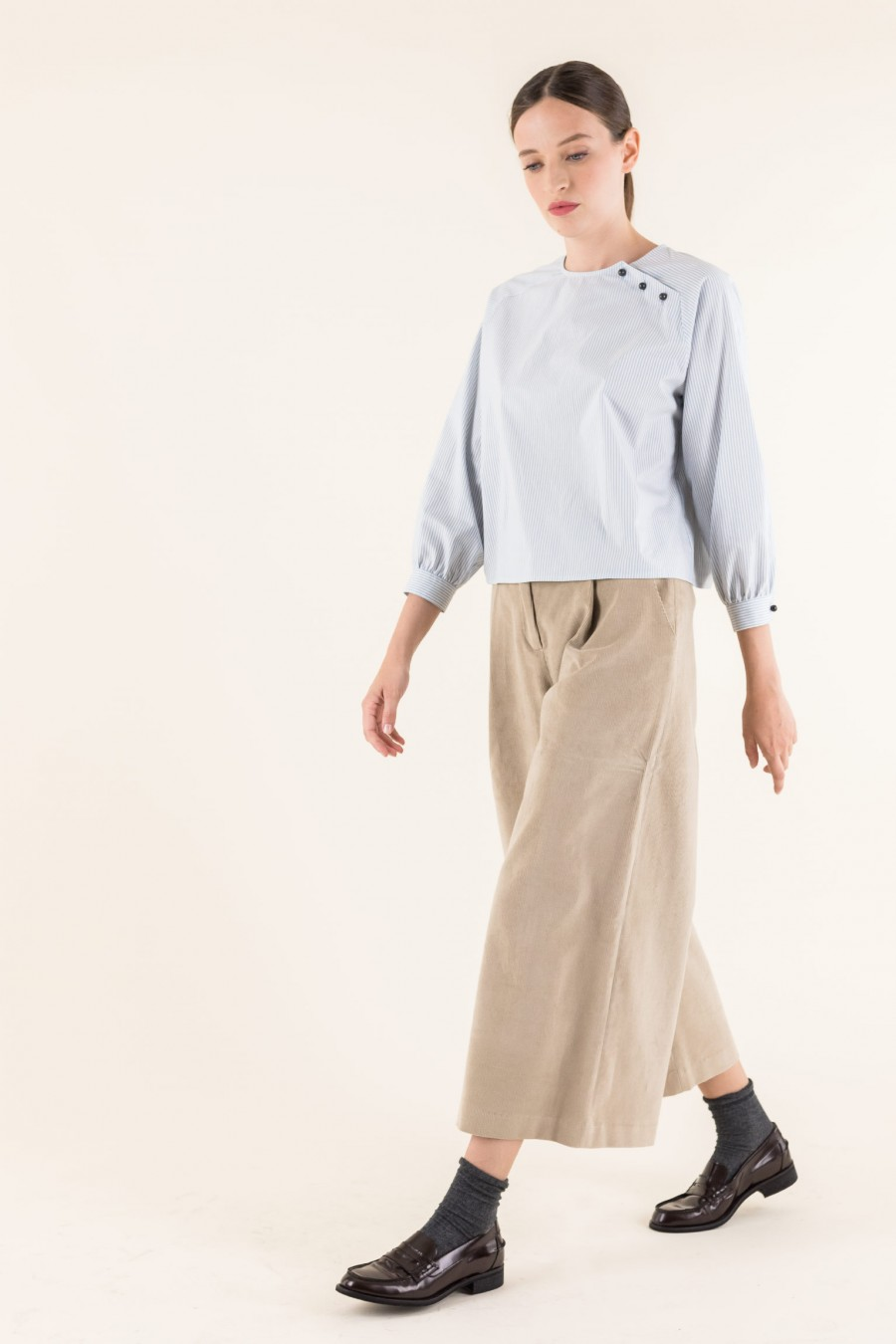 Beige cord over-fitting trousers