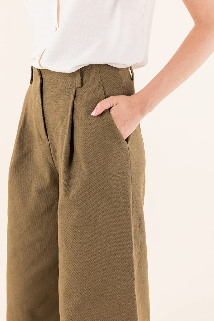 ochre Culottes with pleat
