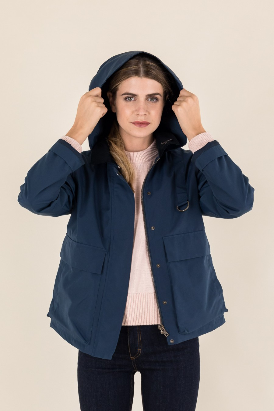 Jacket in technical fabric with corduroy collar
