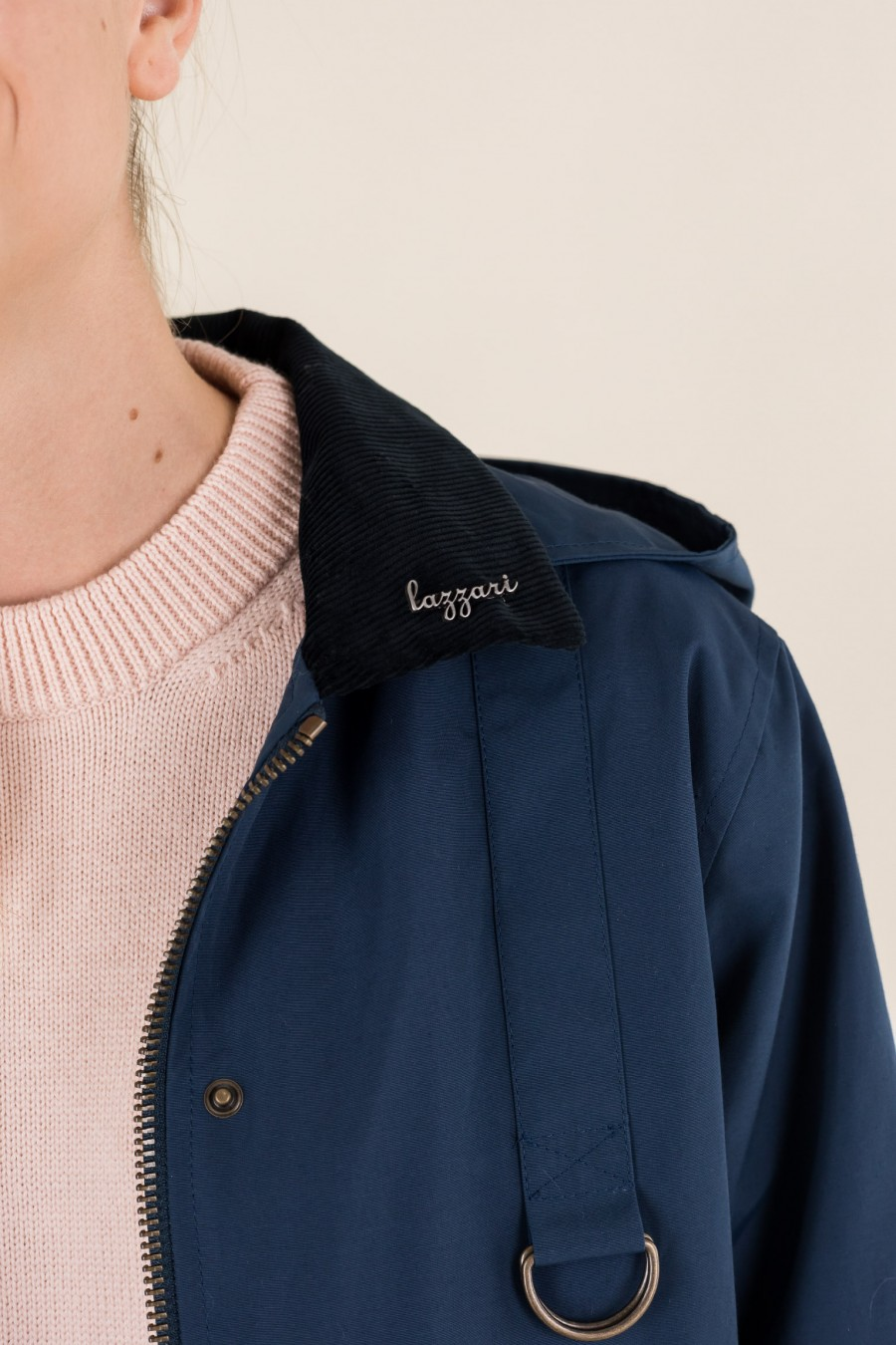 Blue jacket with corduroy collar