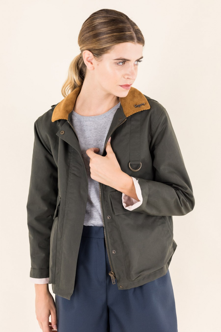 Green jacket with collar