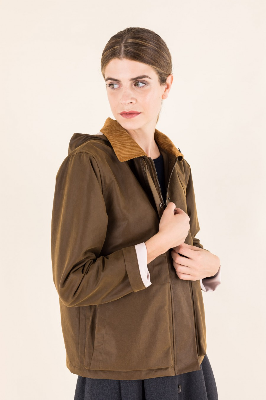 Brown jacket with corduroy collar