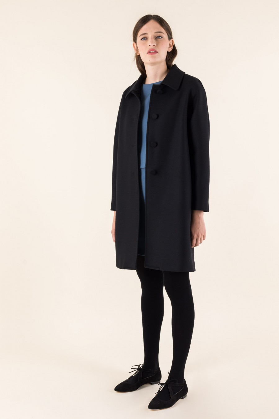 Black coat with gusset sleeves