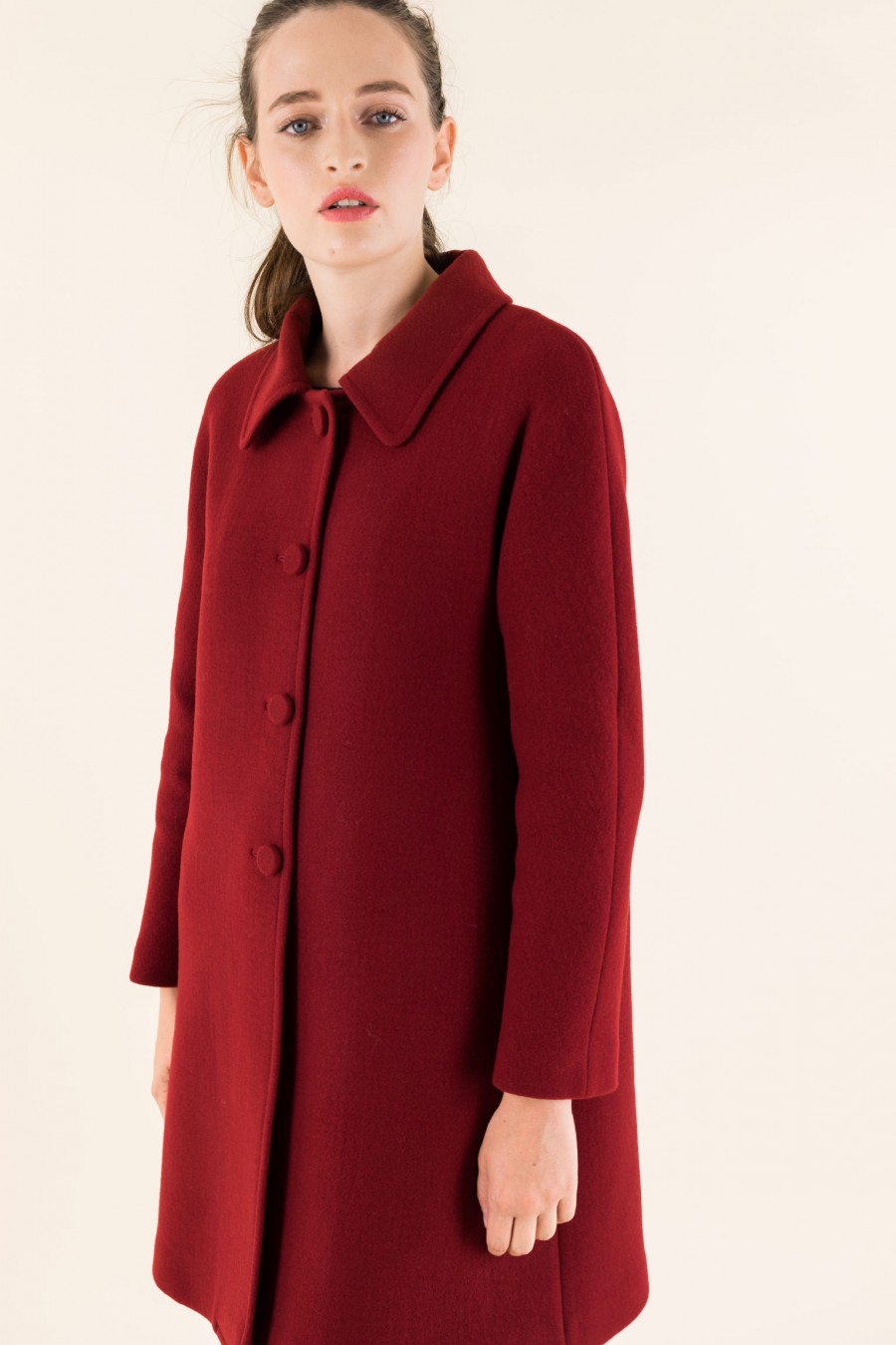 Red coat in double fabric