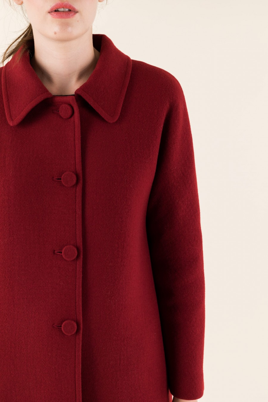 Red vintage coat with collar