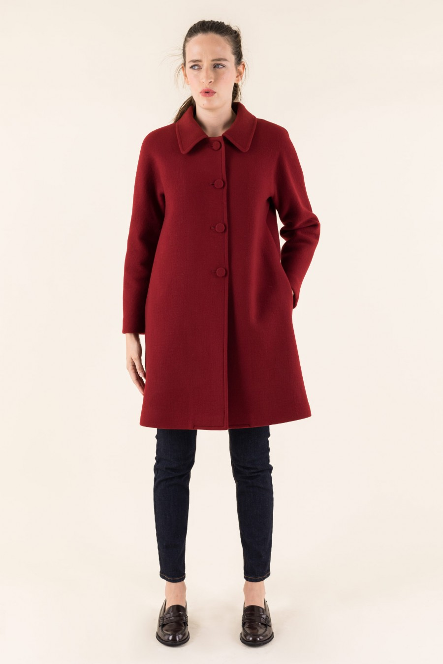 Burgundy coat with buttons