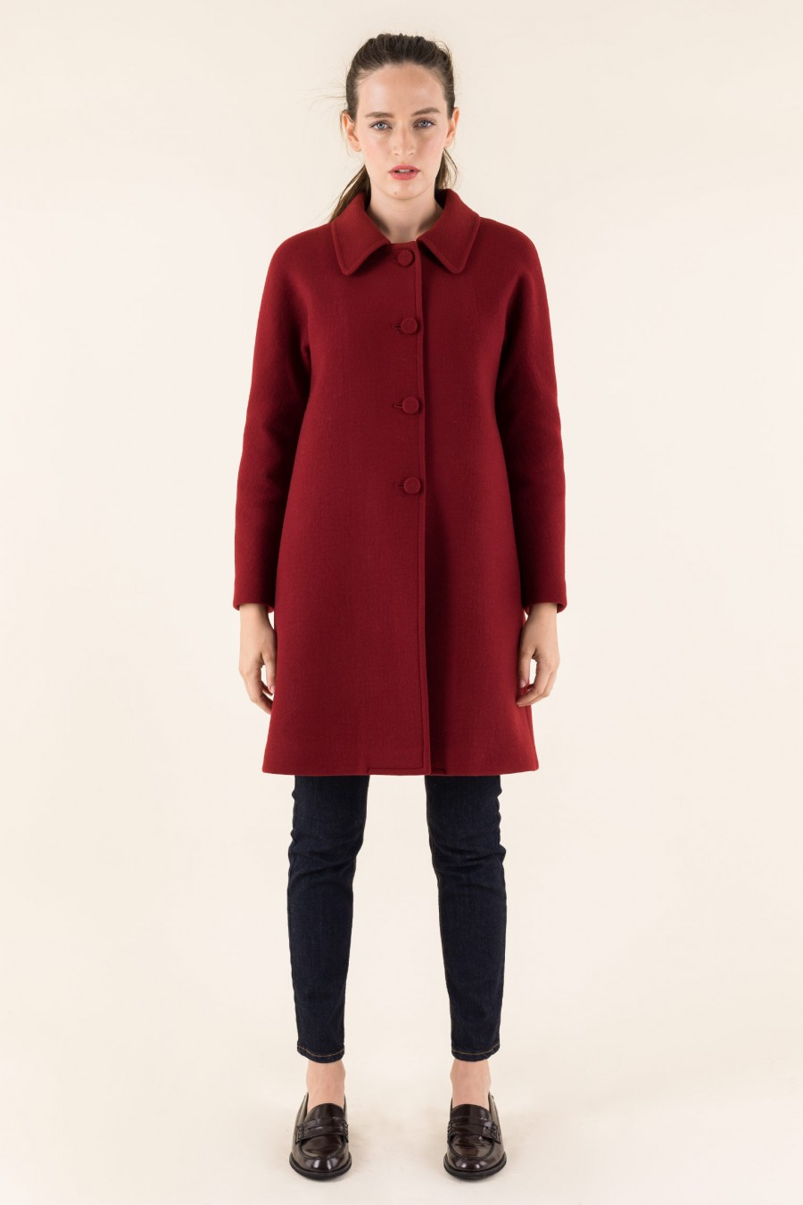 Red coat with flat buttons
