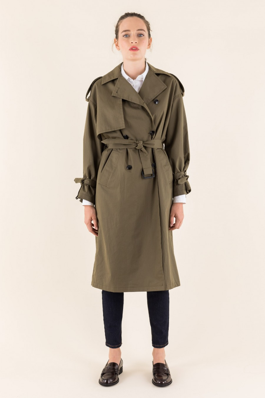 Cotton mid-length trench coat
