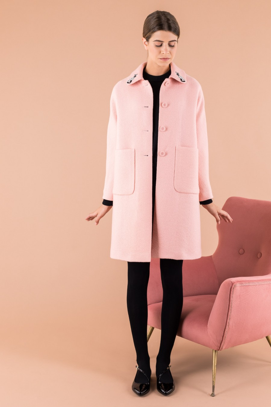Pink coat with cat collar