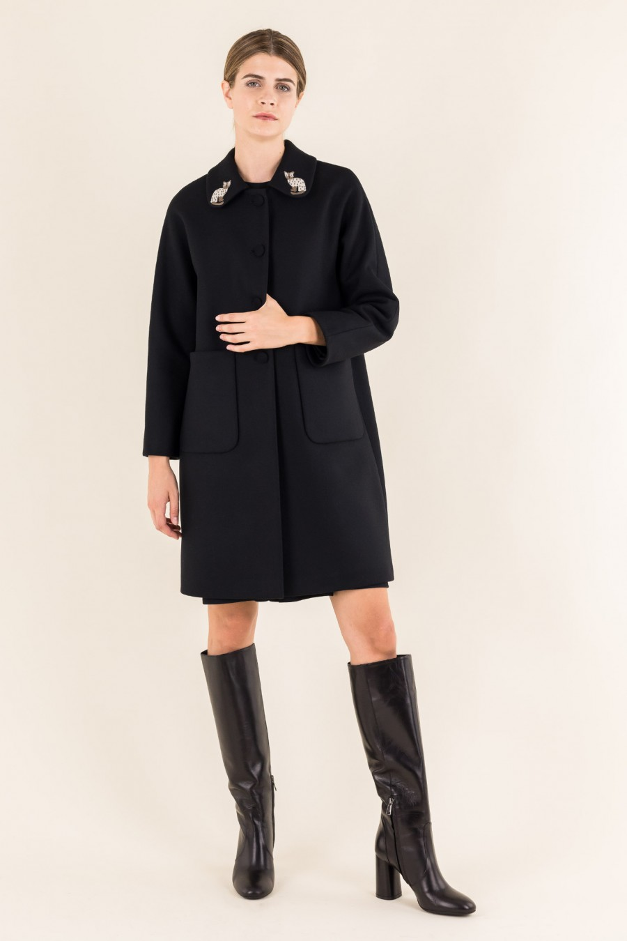 Black coat with cat collar