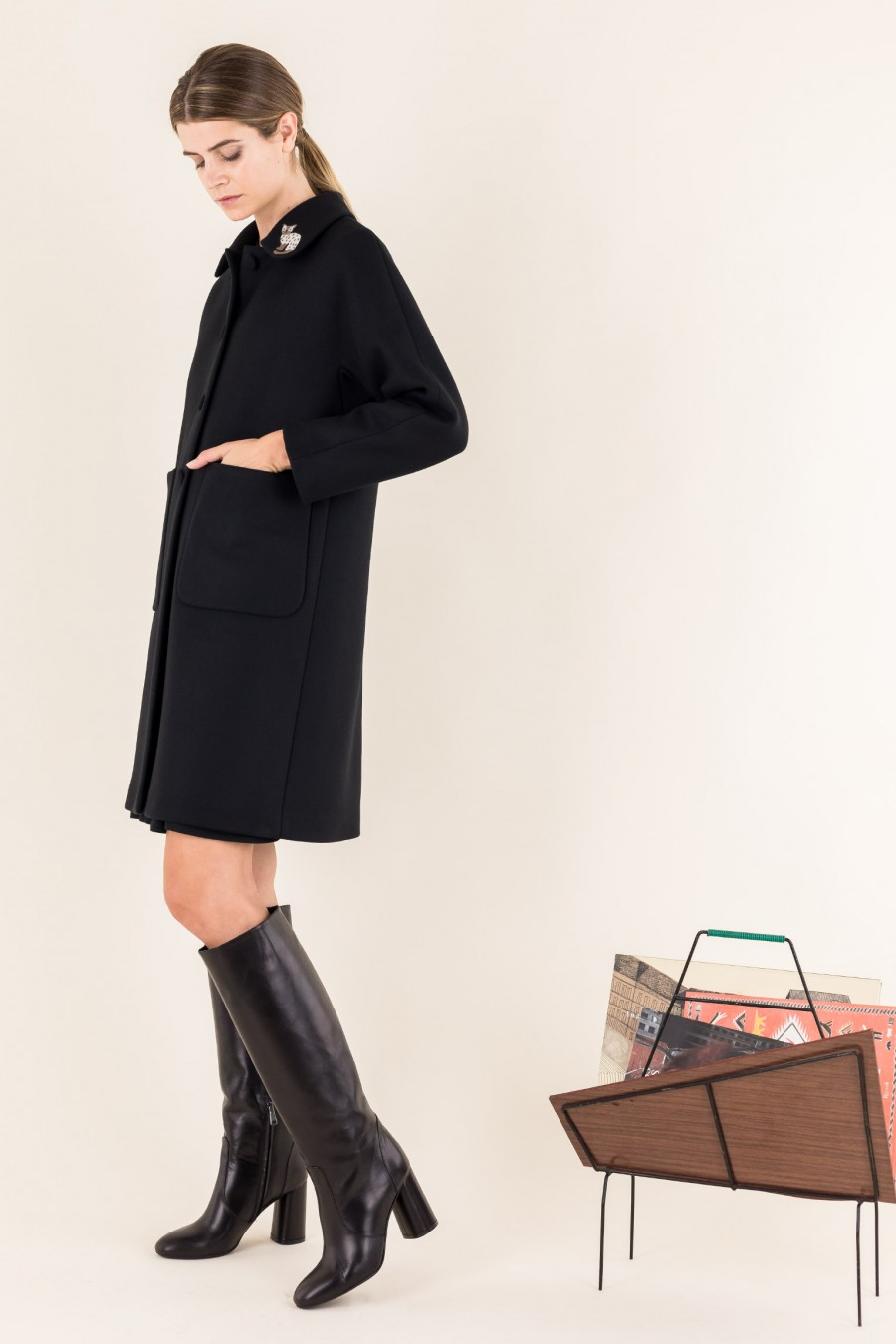 Black coat with collar