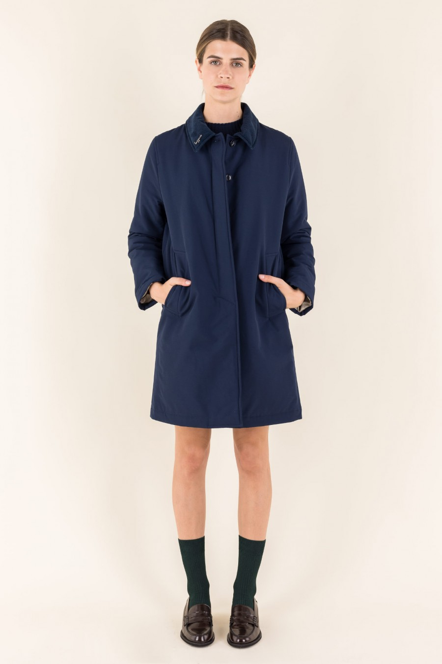 Overcoat in technical fabric and corduroy collar
