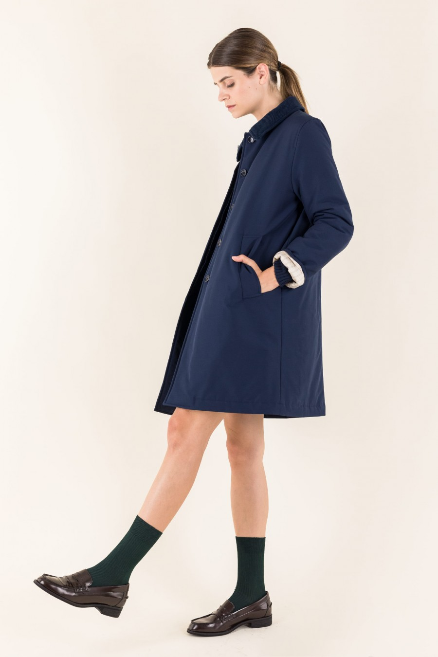 Blue overcoat similar to barbour