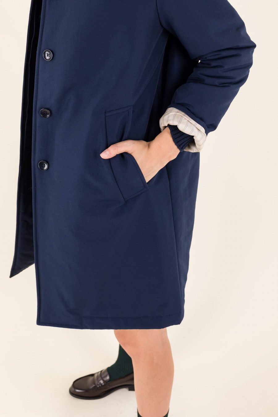 Fall long blue overcoat