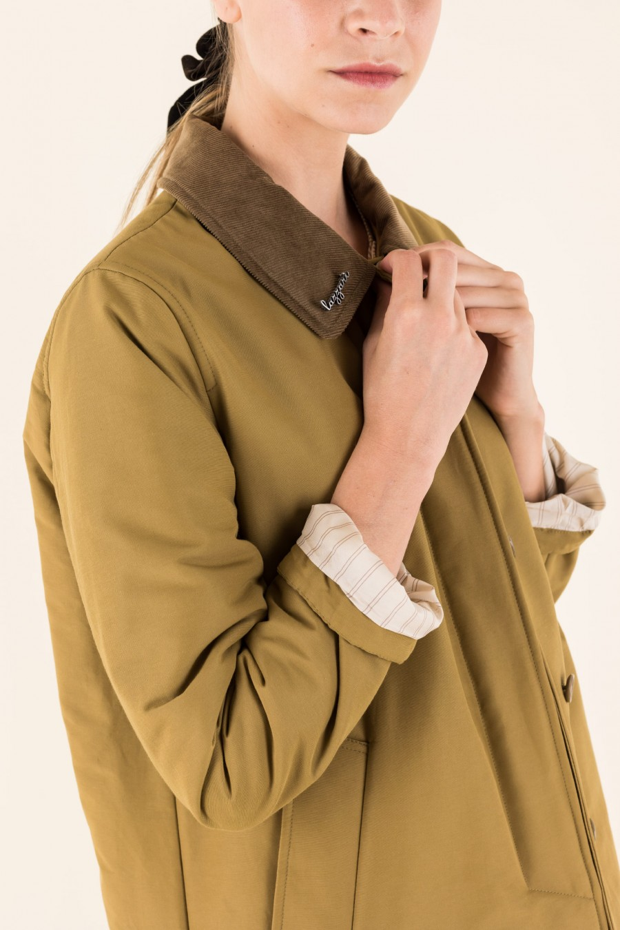 Beige overcoat similar to barbour