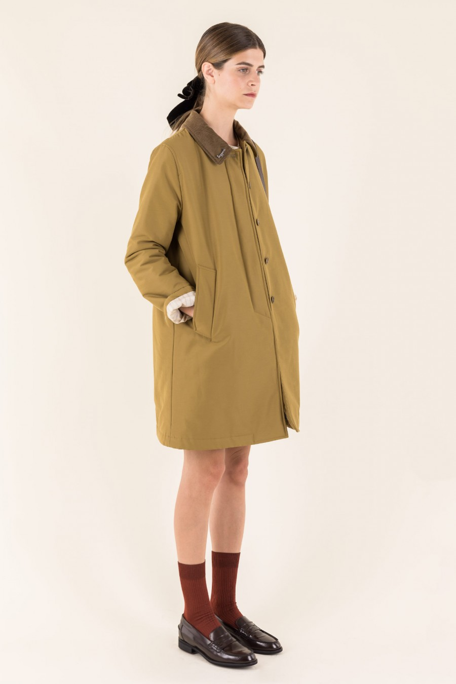 Olive overcoat in technical fabric