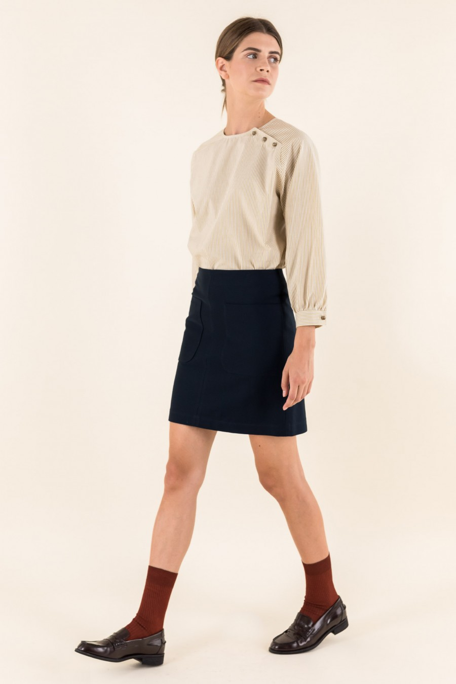 Stretch a-line skirt with pockets