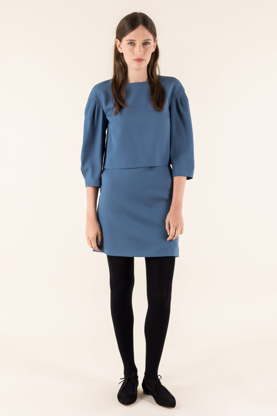 A-line robin-egg blue skirt