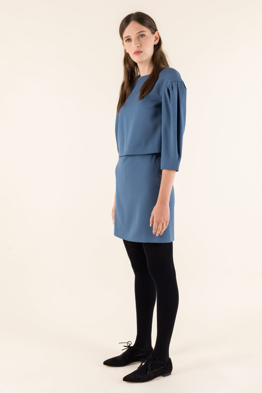 Virgin wool robin-egg blue skirt