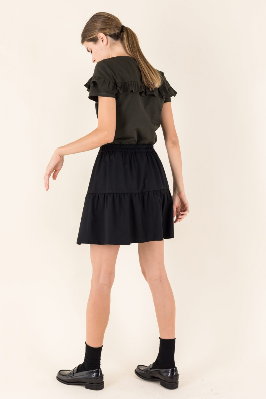 Gathered skirt with frill